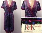 Sale Valentines 1970s R&K Originals Knee Length Floral Dress, Polyester, Size Large, #48724