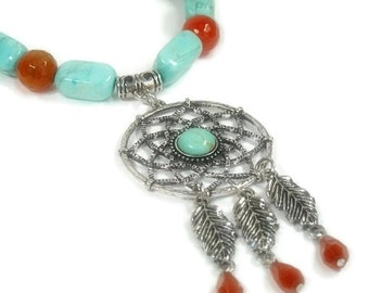 Dream Catcher Necklace, Turquoise Necklace, Symbolic Southwest Jewelry, Turquoise Jewelry, Feather Earrings, Dreamcatcher, Carnelian, Native