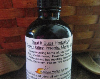 Bug, Insect Deterrent, Deet free, Bug Bite Balm, Beat It Bugs Herbal Body Oil, Moisturizer, Flies, Mosquito