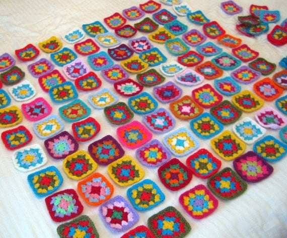 Pick N Mix Distinctive Granny Squares Afghan Blanket Bright Vivid Colors