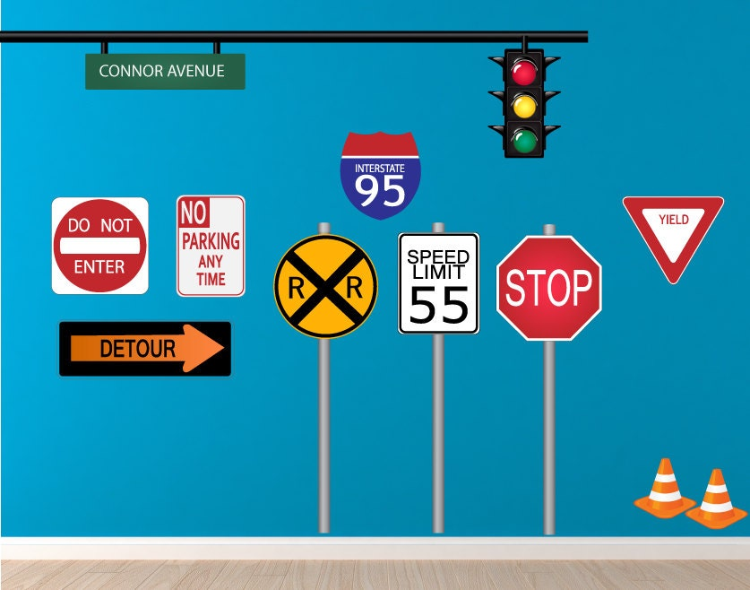 Traffic Signs Wall Decor : Transportation signs decals road sign wall decal reusable