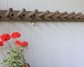 Antique Large Rustic Mercantile or Factory Wall Rack with Long Pegs for Tools, Coats, Hats, Herbs
