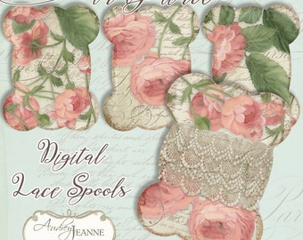 Lace Spool Digital Hand Painted Roses in a Vintage Style E16-01A print your own gift tags or organizing sewing supplies pink shabby chic