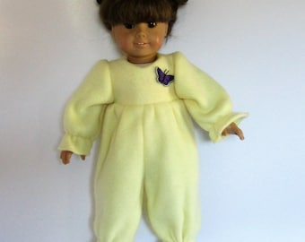 Yellow Fleece Footies PJ's  with Purple Butterfly Made to fit Dolls Like Gotz or American Girl -  Doll Clothes 18""