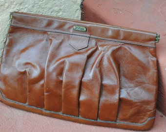 Vintage 1970's Brown Leather Clutch