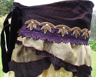 hip scarf, dark fusion,burlesque, hip wrap, bustle, ruffle bustle, steampunk, boho, festival wear, carnival