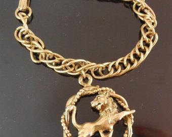 Vintage Charm Bracelet With Large Lion Charm Jungle Cat over Star or Leo Zodiac