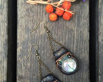 clay EARRINGS,dangle earrings, boho earrings,beaded earrings,hippie earrings,folk earrings ,zen earrings, dandelion earrings, Zasra