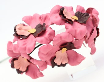 Leather Flower Pink Orchid 3rd Anniversary Gift Third Anniversary Long Stem Leather Flower Valentine's Day Mother's Day