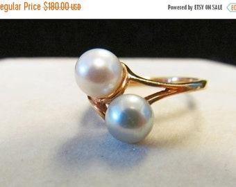 On Sale Vintage Estate 10 K  Lustrous Pink White and Gray Pearl By Pass Style Ring