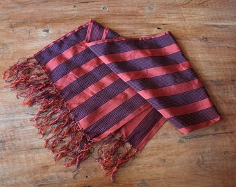 Vintage 1950s Tuxedo Scarf // 50s Navy and Crimson Silk Scarf // Opera Scarf with Fringe // Dandy