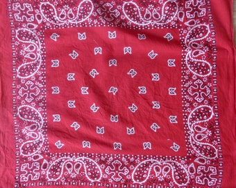 Vintage Red  Bandana Scarf /Springs Brand-USA Made All Cotton-RN 15582