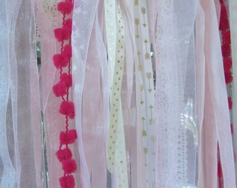 Pink Ribbon Garland, Pink, Cream and White Lace and Ribbon Shabby Chic Garland, Party Garland, Photo Prop
