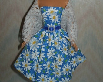 "Handmade 11.5"" fashion doll clothes - blue and white daisy dress with white lace stole"