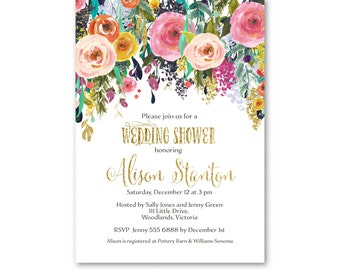 Wedding Shower Invitation  | Floral Bridal Shower invite | Watercolour Invite | Printable Bridal Shower | Printable | Invitation 2428