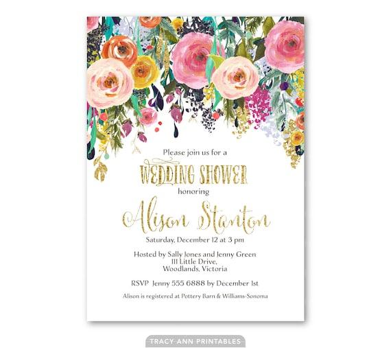 Wedding shower invitation floral bridal shower invite for Flower bridal shower invitations
