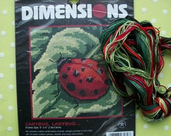 Vintage 1990s Dimensions Ladybug, Ladybug...Needlepoint Kit