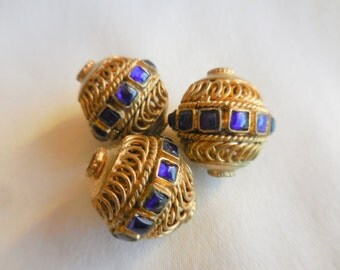 Destash BRASS Bead Lot of 3 for Jewelry Making