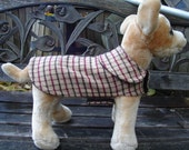 Tan Brown and Burgundy Wool Dog Coat- Size XX Small 8-10 Inch Back Length