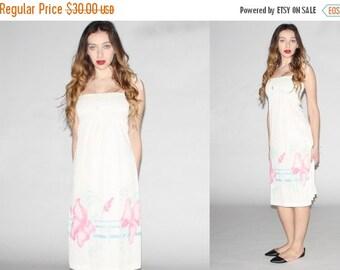 75% OFF FINAL SALE - Vintage  White Floral Dress - 70s Floral  Dress  - The Andrea Dress - 10040