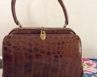 Vintage 1940s 1950s Handbag Purse Leather Reptile Embossed Original Comb & Mirror