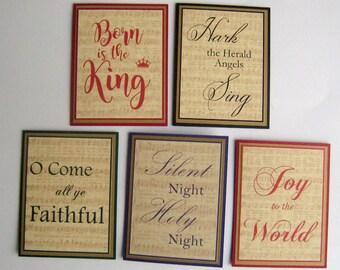 Christmas Card Set Christmas Carol Cards Set of 5 #1