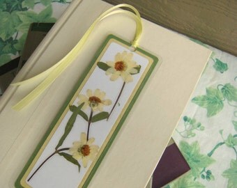 Pressed Flower Bookmark Pale Yellow Off White Zinnia With Leaves Laminated