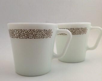Vintage Pyrex Woodland Brown Floral Coffee Tea Mugs Cups set of 2