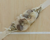 Gold wedding belt, Bridal belt, Bridal sash, wedding dress sash belt, Tan Rustic Shabby chic floral Champagne Ivory Nude OOAK