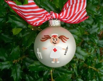 Nurse Ornament - Personalized Nurse Appreciation Christmas Bauble, LPN, RN, CNA, Nursing Ornament, Caregiving Medical Gift, Hospital Gift