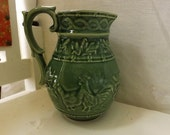 Bordallo Pinheiro Green Ceramic Water Pitcher With Rooster And Hen Design