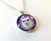 Gray Owl on Purple Pendant with necklace, Wearable Art, original acrylic painting under glass, mini art, NOT A PRINT