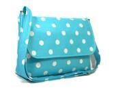 Aqua Blue Polka Dot Purse, Fabric Crossbody Bag, Womens Messenger Bag, Turquoise Cross Body Purse, Polka Dot Bag, Cotton Shoulder Bag