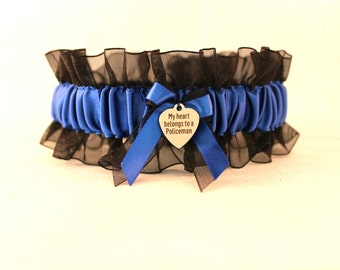 Handcrafted Police Garter with a charm that says My Heart Belongs to a policeman - Something Blue Wedding Garter - Police Bridal Garter.