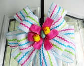 Large St. Easter Door Bow white burlap ribbon w/ pink teal & lime rickrack stripes pink felt center, chicks egg
