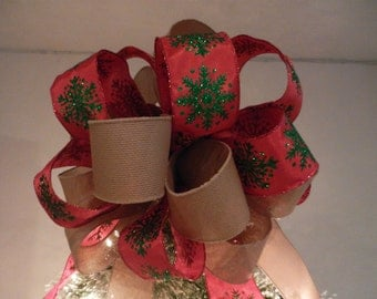 Large Burlap and red ribbon with green snowflakes Christmas Tree Topper Bow
