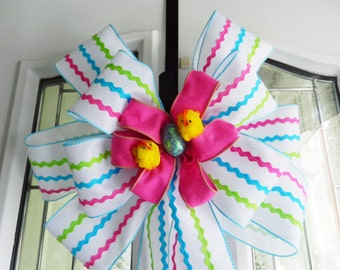 Large St. Easter Door Bow white burlap ribbon w/ pink teal & lime rickrack stripes pink felt center, chicks egg