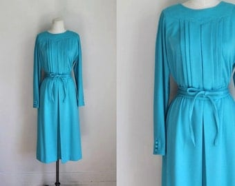 50% OFF...last call // vintage 1970s knit dress - GLACIER blue belted day dress / s-m / (nwt)