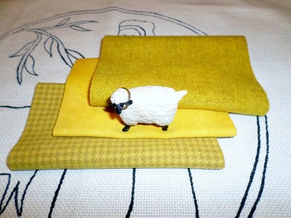 Hand Dyed, Felted Wool Bundle, HELLO SUNSHINE, Rug hooking, Applique, Penny Rugs, Fiber Arts