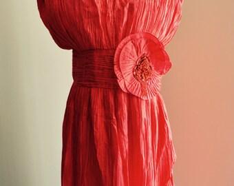 Vintage 80s Ruffled Pleated Red V line Shoulder Sequined Flower Dress Cocktail Fashion Evening