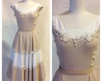 1950s Linen Day Dress