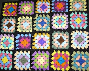 20 Crochet Granny Square Blocks for Afghan 5 Inches Multicolored with Black Border