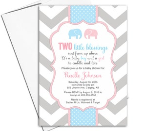Printable twin boy and girl baby shower invitation | twin baby shower invite with elephants | pink and blue | chevron - WLP00795
