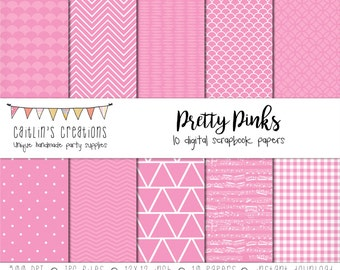 Digital Scrapbook Paper Pretty Pink - 10 Papers - 12x12 - Gingham, chevron, dots, triangles, sheet music, waves - INSTANT DOWNLOAD