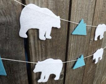 Polar Bear Garland, Polar Bear Bunting, Glaciers, Polar Bear Party, Polar Bear Nursery, Polar Bear Baby Shower, Polar Bears, Felt Polar Bear