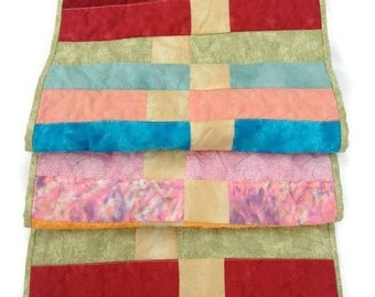 """Quilted Table Runner / Table Topper / Centerpiece Mat – Bright Batik  – 13-1/2"""" wide x 41"""" long"""