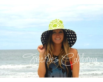 Lime Green Sun Hat with Black and White Polka Dot Under the brim Summer Hat by Freckles California
