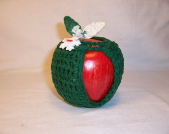 Handmade Crochet Apple Cozy in Christmas Colors - Ready To Ship