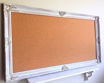 large framed cork board decorative pinboard vintage white distressed framed memo board wedding seating chart farmhouse decor bulletin board