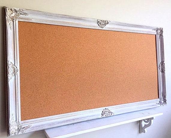 large framed cork board decorative pinboard vintage white. Black Bedroom Furniture Sets. Home Design Ideas
